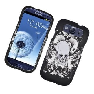 Insten Black/ White Skull Hard Snap-on Rubberized Matte Case Cover For Samsung Galaxy S3