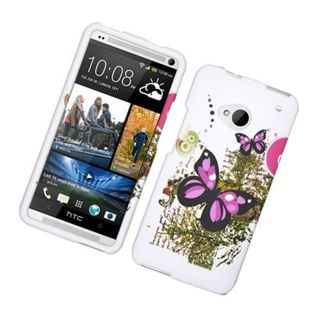 Insten White/ Pink Butterfly Hard Snap-on Rubberized Matte Case Cover For HTC One M7