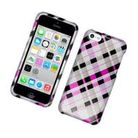 Insten Pink/ Black Checker Hard Snap-on Glossy Case Cover For Apple iPhone 5C