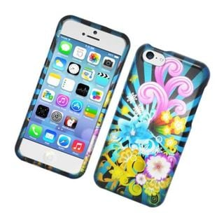 Insten Blue/ Colorful Fireworks Hard Snap-on Glossy Case Cover For Apple iPhone 5C