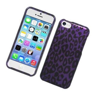 Insten Purple Leopard Hard Snap-on Glossy Case Cover For Apple iPhone 5C