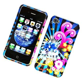 Insten Blue/ Colorful Fireworks Hard Snap-on Glossy Case Cover For Apple iPhone 4/ 4S