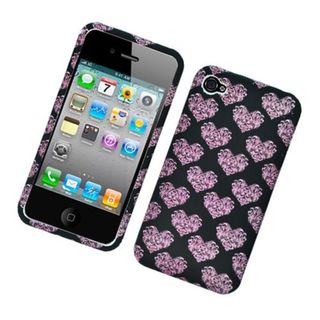 Insten Black/ Pink Hearts Hard Snap-on Rubberized Matte Case Cover For Apple iPhone 4/ 4S