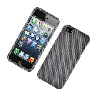 Insten Dark Grey Carbon Fiber Hard Snap-on Glossy Case Cover For Apple iPhone 5/ 5S