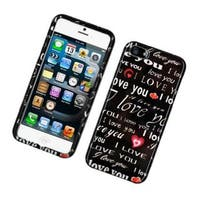 Insten Black/ White Love You Hard Snap-on Glossy Case Cover For Apple iPhone 5/ 5S
