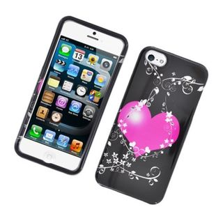 Insten Black/ Hot Pink Flowery Heart Hard Snap-on Glossy Case Cover For Apple iPhone 5/ 5S