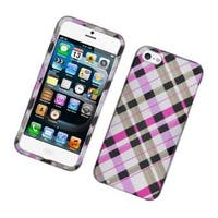 Insten Pink/ Black Checker Hard Snap-on Glossy Case Cover For Apple iPhone 5/ 5S