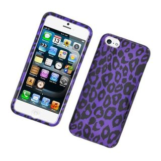 Insten Purple Leopard Hard Snap-on Glossy Case Cover For Apple iPhone 5/ 5S