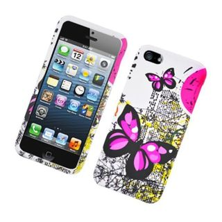 Insten White/ Pink Butterfly Hard Snap-on Rubberized Matte Case Cover For Apple iPhone 5/ 5S