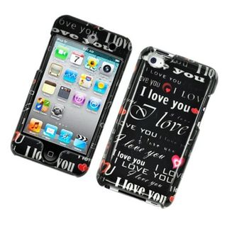 Insten Black/ White Love You Hard Snap-on Glossy Case Cover For Apple iPod Touch 4th Gen