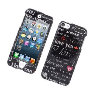 Insten Black/ White Love You Hard Snap-on Glossy Case Cover For Apple iPod Touch 5th Gen