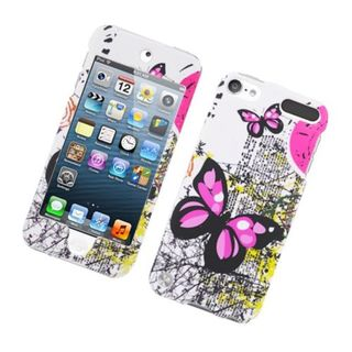 Insten White/ Pink Butterfly Hard Snap-on Rubberized Matte Case Cover For Apple iPod Touch 5th Gen