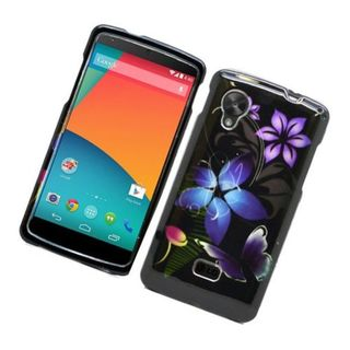 Insten Black/ Purple Butterfly Hard Snap-on Glossy Case Cover For LG Google Nexus 5