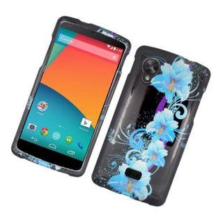 Insten Black/ Blue Flowers Hard Snap-on Glossy Case Cover For LG Google Nexus 5