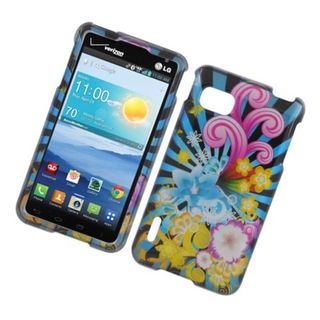 Insten Blue/ Colorful Fireworks Hard Snap-on Glossy Case Cover For LG Optimus F3 LS720