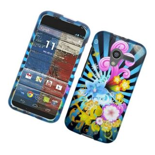 Insten Blue/ Colorful Fireworks Hard Snap-on Glossy Case Cover For Motorola Moto X(1st Gen)