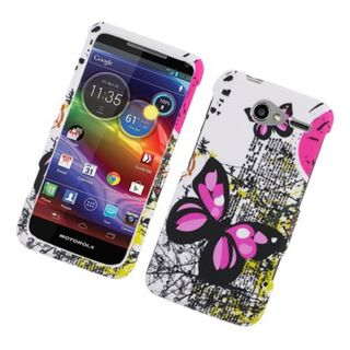 Insten White/ Pink Butterfly Hard Snap-on Rubberized Matte Case Cover For Motorola Electrify M