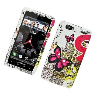 Insten White/ Pink Butterfly Hard Snap-on Rubberized Matte Case Cover For Motorola Droid Razr Maxx