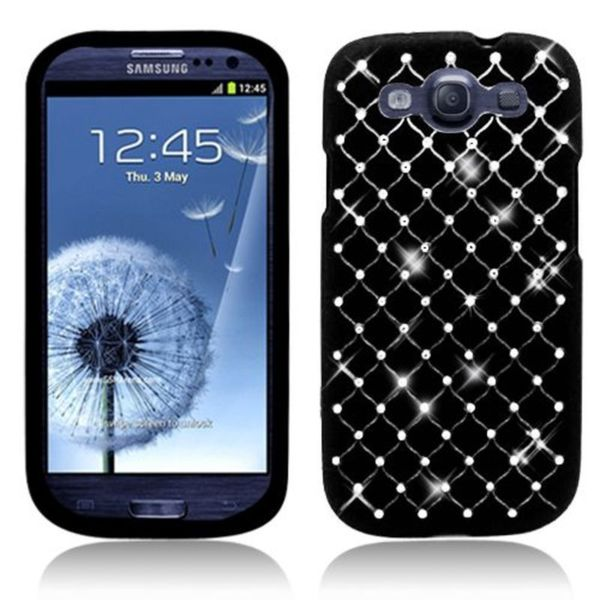 Insten Hard Snap-on Rubberized Matte Case Cover with Diamond For Samsung Galaxy S3