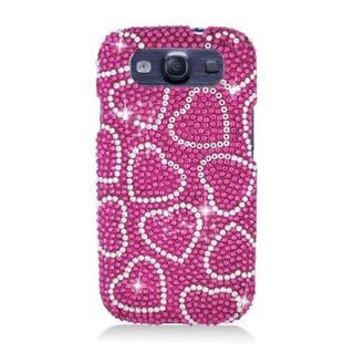 Insten Pink Hearts Hard Snap-on Rhinestone Diamond Bling Case Cover For Samsung Galaxy S3