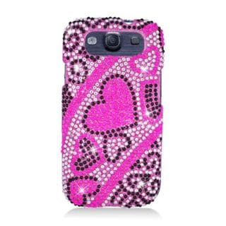 Insten Pink Hearts Hard Snap-on Rhinestone Bling Case Cover For Samsung Galaxy S3