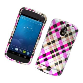 Insten Pink/ Black Checker Hard Snap-on Glossy Case Cover For Samsung Galaxy Google Nexus i515 (Verizon)