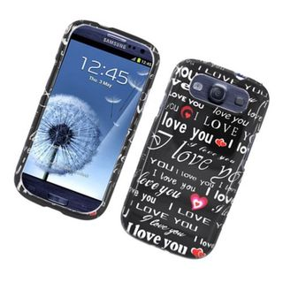 Insten Black/ White Love You Hard Snap-on Glossy Case Cover For Samsung Galaxy S3