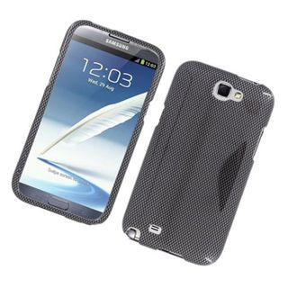 Insten Dark Grey Carbon Fiber Hard Snap-on Glossy Case Cover For Samsung Galaxy Note II