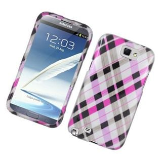 Insten Pink/ Black Checker Hard Snap-on Glossy Case Cover For Samsung Galaxy Note II