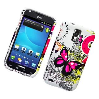 Insten White/ Pink Butterfly Hard Snap-on Rubberized Matte Case Cover For Samsung Galaxy S2 Hercules