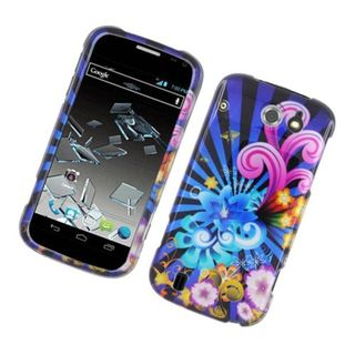 Insten Blue/ Colorful Fireworks Hard Snap-on Glossy Case Cover For ZTE Flash