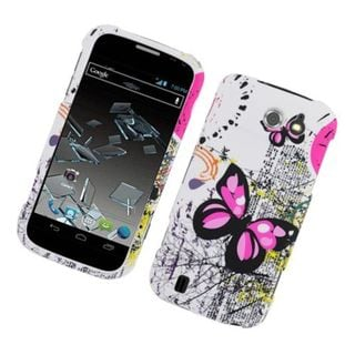 Insten White/ Pink Butterfly Hard Snap-on Rubberized Matte Case Cover For ZTE Flash