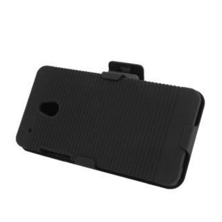 Insten Black Hard Snap-on Rubberized Matte Case Cover with Holster For HTC One Mini