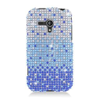 Insten Blue/ Silver Hard Snap-on Diamond Bling Case Cover For Samsung Galaxy Rush
