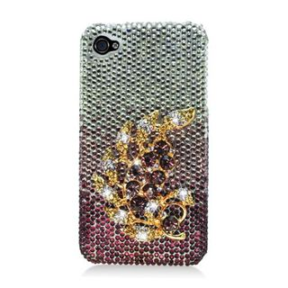 Insten Purple/ Gold 3D Hard Snap-on Diamond Bling Case Cover For Apple iPhone 4/ 4S