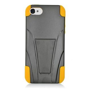 Insten Black/ Yellow Hard PC/ Silicone Dual Layer Hybrid Case Cover with Stand For Apple iPhone 5/ 5S