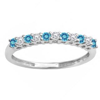 Elora 14k Gold 1/3 ct. Round Blue Topaz & White Diamond Stackable Wedding Band (I-J & Blue, I2-I3 & Moderately Included)