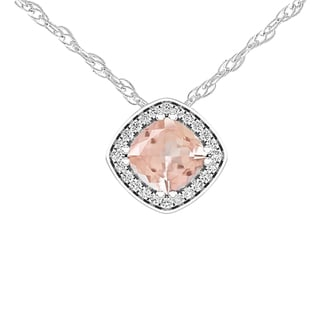 Elora 14k Gold 1 ct Cushion Cut Morganite & Round White Diamond Pendant(Chain Included) (I-J & Pink,I2-I3 & Moderately Included)