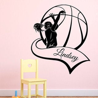 Basketball Wall Decals Custom Personalized Name Girl Basketball Player Decal Sport Interior Sticker