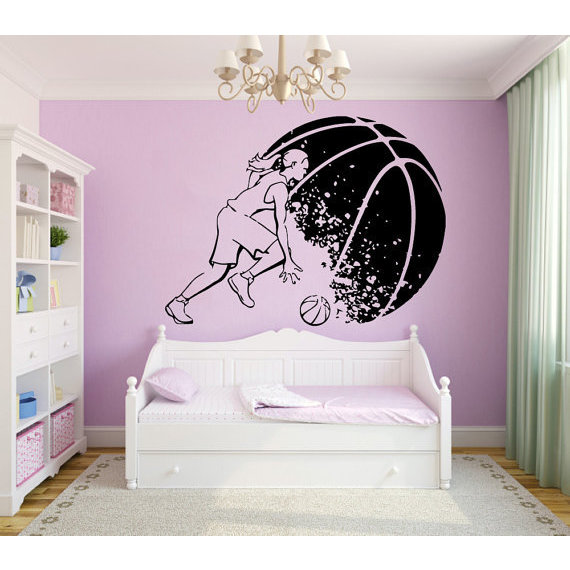 Basketball Wall Decals Girl Basketball Player Decal Sport Wall Vinyl Sticker Home Mural Sticker Decal size 48x65 Color Black