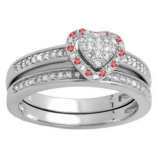 Elora Sterling Silver 1/4 ct. Round Ruby & White Diamond Heart Bridal Engagement Ring Set (I-J & Red, I2-I3 & Highly Included)