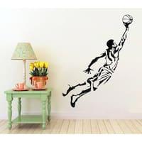 Basketball Wall Decals Boy Basketball Player Decal Sport Gym Decor Vinyl Home Art Mural Sticker Decal size 33x33 Color Black