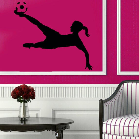 Soccer Wall Decals Girl Football Player Sport Gym Vinyl Sticker Home Decor  Art Wall Decor Sticker