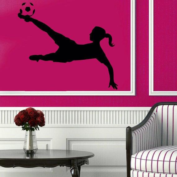 shop soccer wall decals girl football player sport gym vinyl sticker