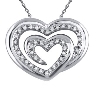 Sterling Silver 1/6ct TDW Diamond Heart Pendant (H-I, SI1-SI2)