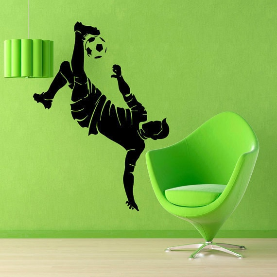Soccer Wall Decals Man Football Player Sport Gym Wall Decor Decal Vinyl  Sticker Home Decor Sticker Decal size 33x45 Color Black