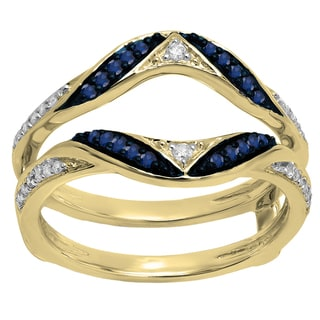 Elora 14k Gold 1/3 CT. Round Blue Sapphire & White Diamond Wedding Band Guard Double Ring (I-J,Blue & I2-I3,Highly Included)