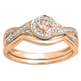 Elora 10k Rose Gold 1/3 CT. Round Morganite & Diamond Bridal Halo Engagement Ring Set (J-K,Blue & I2-I3,Moderately Included)