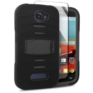 Insten Soft Silicone/ PC Dual Layer Hybrid Rubber Case Cover with Stand For Alcatel One Touch Fierce 2 7040T/ Pop Icon