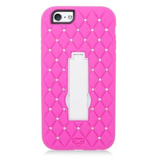 Insten Symbiosis Soft Silicone/ PC Dual Layer Hybrid Rubber Case Cover with Stand/ Diamond For Apple iPhone 6/ 6s